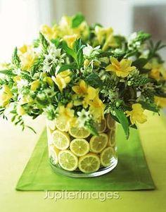 Lemon vase with flowers: