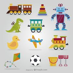 Cute toys pack Free Vector
