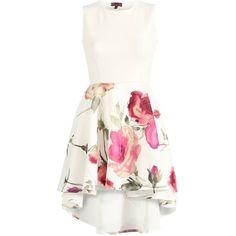 Tickle Me Pink Floral Skater Dress ($35) ❤ liked on Polyvore featuring dresses, vestidos, hi low dress, skater dress, white high low dress, white hi low dress and hi lo dresses