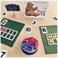 """Weekly Round-Up: September 22 A Pinch of Kinder: A Simple Number Sense Provocation with """"Bear Counts"""" Numbers Kindergarten, Numbers Preschool, Math Numbers, Kindergarten Activities, Preschool Activities, Preschool Schedule, Kindergarten Welcome, Montessori Preschool, Montessori Elementary"""