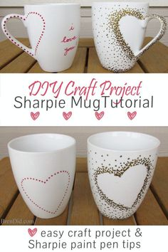 DIY Craft Project: Sharpie Mug Tutorial - Custom heart handle mugs that require no artistic ability or transfers! If you can trace and make dots you can make these mugs! Learn the easy hack! Uses oil based Sharpie paint pens that are baked on. Valentine's Day Gift Idea.