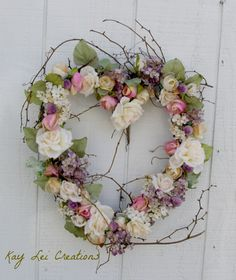 Cream & Pink Rose Heart Wreath  by Kay Lei Creations