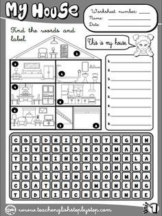 My house - Worksheet 1 (B&W version) Teach English To Kids, English Lessons For Kids, English Class, Learn English, English Teaching Resources, English Activities, Teaching Activities, Teaching Spanish, Ingles Kids