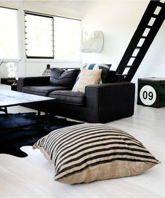 The Black Striped floor cushion #oneteaspoonhome
