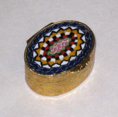 Italian Oval Micro Mosaic Brass Pill Box / by CookieGrandma60, $45.00