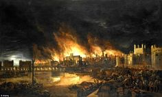 The Great Fire of London (illustrated) destroyed a third of the city, including 13,200 hou...