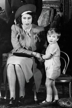 Prince William of Gloucester pictured as a boy with his cousin Queen Elizabeth II (a princess at the time this picture was taken in 1944)
