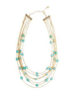 Rachel Reinhardt Cassidy Multi-Strand Necklace | This intricate design features brilliant turquoise beads against gold plated strands for a perfect pairing of color. Wear it by itself or layer it with other necklaces.