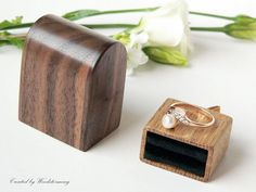 Proposal ring box - original Woodstorming design with black pillow for ring