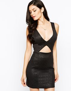 Rare Cut Out Bodycon Dress in Snakeskin - Black