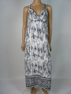 Ann Taylor Navy Blue White Linen Empire Smocked Maxi Dress