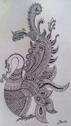 Zantangle Doodle Art Drawing, Zentangle Drawings, Mandala Drawing, Art Drawings Sketches, Kerala Mural Painting, Indian Art Paintings, Kalamkari Painting, Madhubani Painting, Peacock Painting