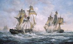 Action Between U.S. Sloop-of-War Wasp and H.M. Brig-of-War Frolic Painting  - Action Between U.S. Sloop-of-War Wasp and H.M. Brig-of-War Frolic Fine Art Print