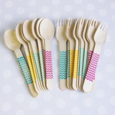 New! Bright Chevron Forks & Spoons