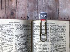 Bookmark,Book Mark,Book Clip,Paper Clip,Small Gift,Teacher Gift,Coworker Gift,Robots,Brass Clip,Brass Bookmark,Large Clip Bookmark,