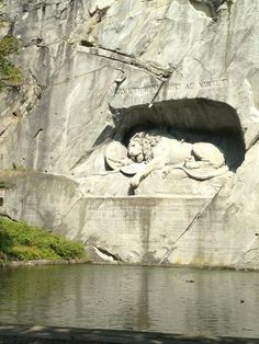 The beauty of the dying Lion monument in Lucerne dates from early 19th century to commemorate the Royal Swiss guards