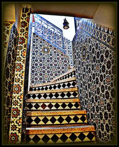 Tiled stairway in Taroudant, Morocco.