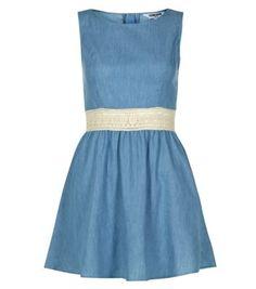 Teens Blue Denim Crochet Waist Dress