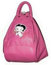 """14"""" x 10"""" x 6.5"""" Betty Boop Synthetic Leather 4 in 1 (Backpack, Sling, Shoulder, Tote) Bag- Pink"""