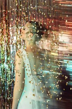 #TopshopPromQueen I love the way petra collins embellishes a simple dress in this photo with rainbow gold magicness