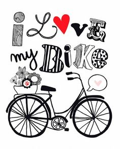 Pen & Pink - Love My Bike - exclusive canvas wall art by Jen da Silva for Wheatpaste Art Collective. Affordable art at only $159 for a hand-stretched 24x30 and available framed in deep pewter or warm white! Made in San Diego, CA.