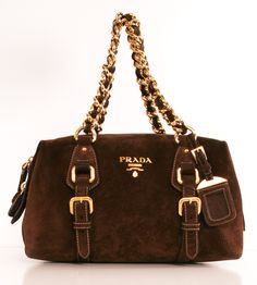 Prada Brown Suede Satchel <3