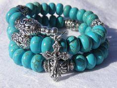 Southwestern Blue Turquoise Five Decade by rosarybraceletwrap5, $55.00