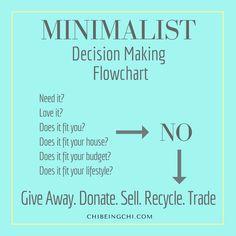 The Minimalist decision making process yields quick results. Ask yourself these questions and if the answer is NO for any of them, then follow these steps. Get free EBooklets to start your minimalist lifestyle http://eepurl.com/clK9nj