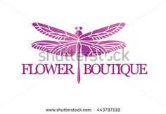 Vector logotype for flower shop, boutique, store, jewelry. Gradient beautiful elegant dragonfly silhouette at white background.