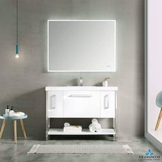 Blossom Single Vanity ➤➤➤ RIGA 48 Inch Modern Bathroom Cabinet ☑️ Color Glossy White, Soft Closing Drawers ⚡ Discount In Our Store 48 Inch Double Vanity, 60 Inch Vanity, Modern Bathroom Cabinets, Bath Cabinets, Living Room Shop, Living Room Chairs, Sink Accessories, Single Sink, Vanity Units