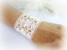 Floral lace bracelet lace cuff bracelet by MalinaCapricciosa