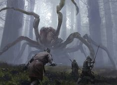 A giant spider. Giant spiders are just one of the dangers of the Wilds (Terrifying Presence card from Magic: The Gathering. Art by Jaime Jones) Dark Fantasy, Medieval Fantasy, Fantasy World, Monster Art, Fantasy Monster, Jaime Jones, Spider Art, Giant Spider, Wolf Spider
