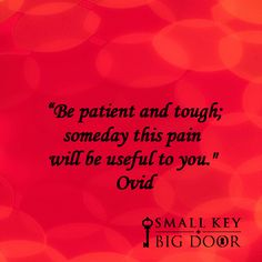 "patient and tough; someday this pain will be useful to you."" Ovid""Be patient and tough; someday this pain will be useful to you. Great Quotes, Quotes To Live By, Inspirational Quotes, Motivational, Book Quotes, Me Quotes, Four Letter Words, Career Quotes, Pep Talks"