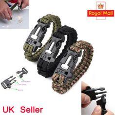 Survival paracord bracelet outdoor #flint fire #starter #scraper whistle gear kit,  View more on the LINK: http://www.zeppy.io/product/gb/2/272201074969/