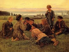 Vladimir Makovsky [1846-1920]. Peasant boys watching the horse. 62x77cm. 1979.