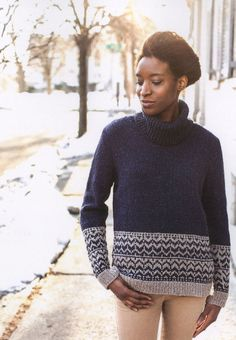 Adara from Brooklyn Tweed: The Adara turns the classic yoke fair isle on its head with all the action at the hem! For a finished bust circumference of 36.75 (39.25, 41.5, 44, 46.5. 48.75, 51.25) inches with an intended ease of 3-6 inches, you will need 1030 (1115, 1170, 1280, 1340, 1445, 1520) yards of worsted weight yarn of MC and 295 (310, 320, 345, 360, 370, 385) of CC; or 8 (8, 9, 10, 10, 11, 11) skeins of MC and 3 of CC of Brooklyn Tweed Shelter; and a US #7 (4.5 mm) 32-inch circular…