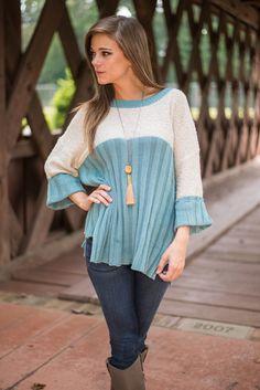 The Liz Sweater, Blue - The Mint Julep Boutique
