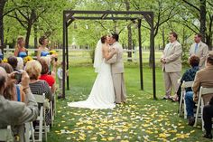 Venue at the Grove- Simple but beautiful ceremony decor. Perfect outdoor wedding!