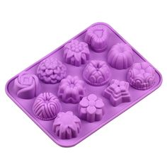 Silicone Cake Mold Mould Muffin Cups Cake Pan Ice Mold Bakeware 12 Cavities #baking-supplies