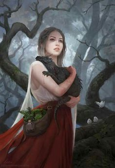 """Artist Leesha Hannigan often delves into fantasy realms in her work, but we especially love this touching image of a girl holding her dragon. The piece, titled """"The Quiet of a Beating Heart… Character Inspiration, Character Art, Writing Inspiration, Character Design, Elfen Fantasy, Fantasy Kunst, Dragon Artwork, Dragon Pictures, Baby Dragon"""