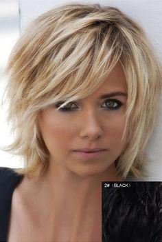 Real Human Hair Graceful Fluffy Natural Wavy Side Bang Short Capless Daily Wig For Women