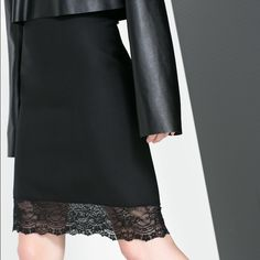 Zara knee length lace trim skirt Beautiful black skirt from Zara, with gorgeous black lace trim. Skirt hits right at the knee, so safe to wear to the office or out for drinks! Love this skirt but sadly no longer fits me! Worn once! Zara Skirts Midi