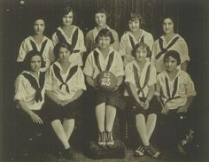 """The 1923 Girls' Basketball team in the """"The Bell"""" yearbook of San Jose High School in San Jose, California.  #SanJose #TheBell #California #yearbook #1923"""
