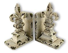 Shabby Chic Distressed White Fleur De Lis Bookends -- This is an Amazon Affiliate link. To view further for this item, visit the image link.