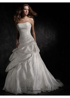 Beautiful Elegant Exquisite Taffeta Strapless Wedding Dress In Great Handwork - Buyanewdress.com