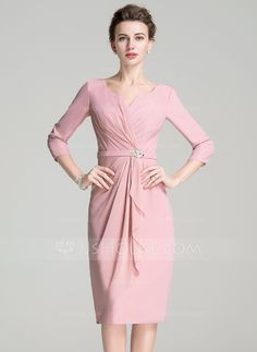 Sheath/Column Scoop Neck Knee-Length Ruffle Crystal Brooch Zipper Up Sleeves 3/4 Sleeves No 2016 Other Colors Spring Summer Fall Winter General Plus Chiffon Mother of the Bride Dress