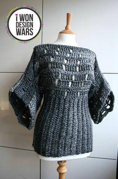 LuzPatterns.com Final DWC week 3 kimono poncho chrochet pattern #crochetpattern #crochet #kimonopattern #ponchocrochet