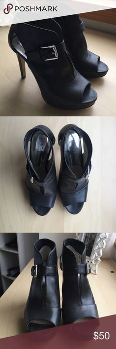 Michael Kors Heelps Black open toed heels with buckle detail. Lightly used! Michael Kors Shoes Heels