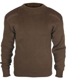 Commando Sweaters Brown Acrylic  Military Sweater
