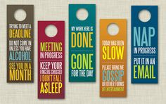 Funny Office Door Hangers... lol!